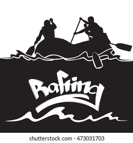 Vector illustration: Design template  with  silhouette of rafting team and hand lettering. Background.