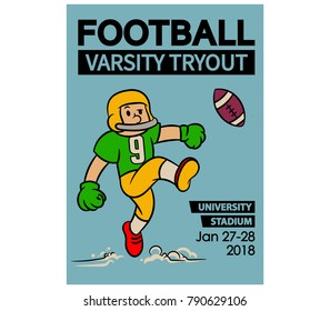 Vector illustration design vintage cartoon of American football varsity try out poster