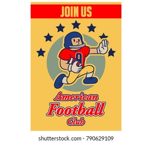 Vector illustration design vintage cartoon of American football  recruitment poster