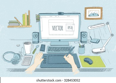 Vector illustration desktop designer. Drawn in sketch style. Organization of modern business workspace in the office.