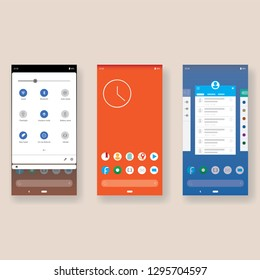 Vector illustration of the desktop interface of a modern smartphone with the image of the desktop, system settings and task manager.