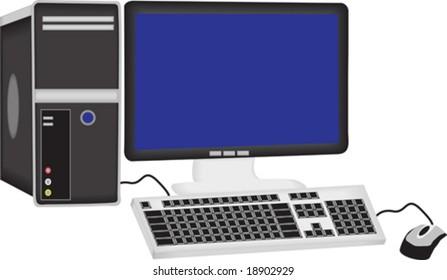vector illustration of a desktop pc