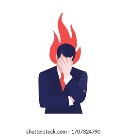 Vector illustration of despair businessman with fire above his head. Jobless problem, lose job. Uneployment, economic crisis, bussiness and financial depression.