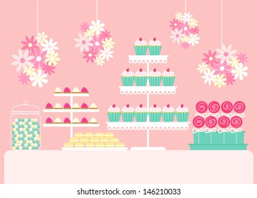 Vector illustration of a dessert buffet table with cupcakes, chocolate, candy and macarons in a teal and pink theme.