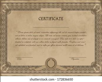Vector illustration of detailed  certificate on vintage design
