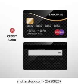 Vector illustration of detailed glossy black and gold credit card