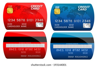 Vector illustration of detailed glossy credit card isolated on white background