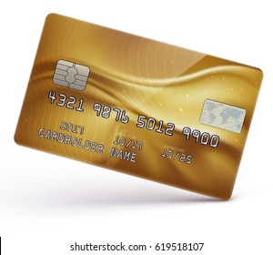 Vector illustration of detailed glossy gold credit card isolated on white background