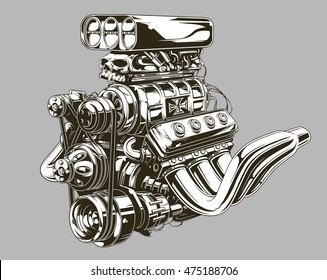 A vector illustration of Detailed hot road motor engine with skull tattoo