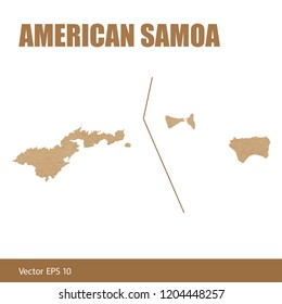 Vector illustration of detailed map of American Samoa cut out of craft paper or cardboard