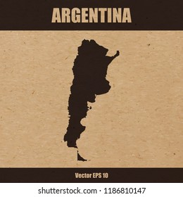 Vector illustration of detailed map of Argentina on craft paper or cardboard