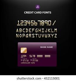 Vector illustration of detailed metallic golden credit card fonts
