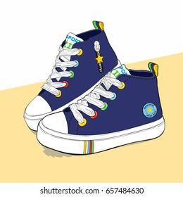 Vector illustration of detailed painted hand drawn children's sports shoes standing on a yellow table. Low canvas sneakers with rainbow findings and stripes. Useful element for your design