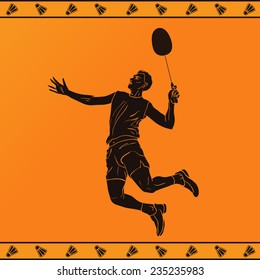 Vector illustration: detailed silhouette of a professional badminton player in ancient greek style