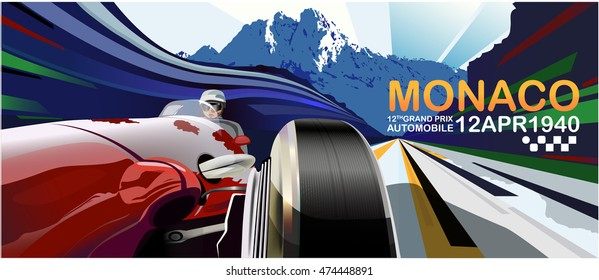 vector illustration. Detailed sports car, old model. Poster advertising for cars, motor racing.