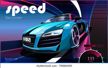 vector illustration. Detailed sports car. Poster advertising for cars, motor racing.