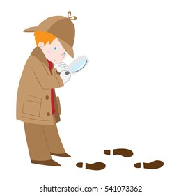 Vector illustration of detective boy wearing sherlock hat with magnifying glass following footprints and clues isolated white background.
