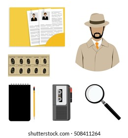 Vector illustration detective interrogation concept notepad with pencil and dictaphone. Detective equipment icon set, collection