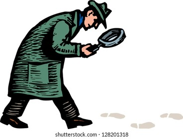 Vector illustration of detective with magnifying glass following footprints and clues