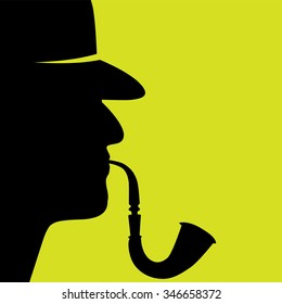 vector illustration of detective with the pipe profile silhouette