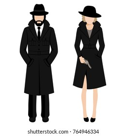 Vector illustration of a detective spy man and woman character. private ivestigation agent. mafia gangster