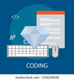 "Vector illustration of developer & interface concept ""coding"" programming and technology icon."
