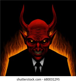 Vector illustration of the devil character in fire and office suit