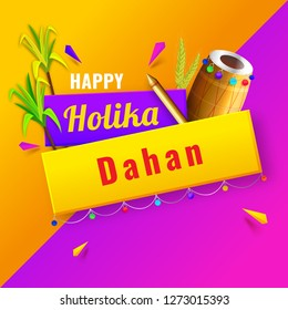 Vector illustration of dhol (Drum), color gun and sugarcane on yellow and purple background. Poster or banner design for Holika Dahan.