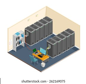 A vector illustration of a diagnostic test in a server computer room. Server test in room. Servers being tested in room.