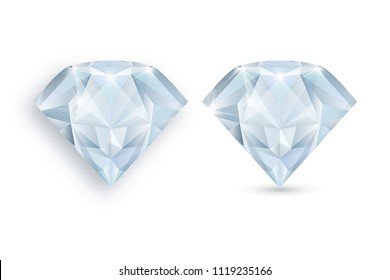 Vector illustration of diamond. Blue gemstone. Precious stones on white background.