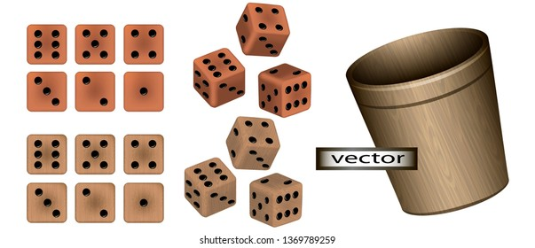 Vector illustration of dice game vintage casino set isolated on transparent background dice made of wood and ceramics wooden glass for throwing set in 3D view