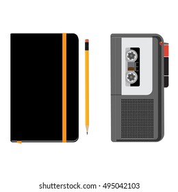 Vector illustration dictaphone icon. Voice recorder and black notebook moleskin with yellow pencil isolated on white background. Journalist.