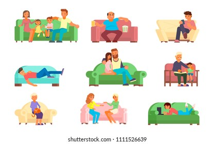 Vector illustration of different age people men, women, girls, boys, couple, mature people, family watching tv, taking rest with phone, laptop while sitting or lying on sofa. Flat style design.