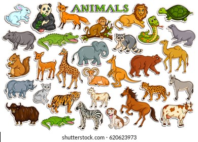 vector illustration of different animal collection in sticker style