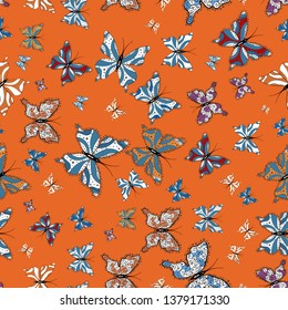 Vector illustration. Different beautiful butterflies flying for coloring book. Abstract seamless pattern for clothes, boys, girls, wallpaper. Seamless pattern background with insect.