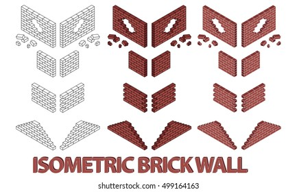 Vector illustration of different brick wall. Red brick wall. Hole in a brickwall. Outline style brick wall.