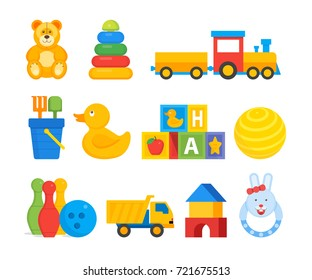 Vector illustration of different bright toys for baby children isolated on white.