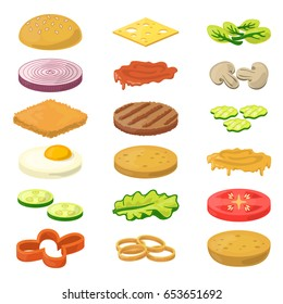 Vector illustration of different burgers ingredients in cartoon style. Fast food pictures