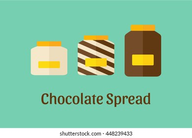Vector illustration of different Chocolate Spread jars: white, brown/dark and mixed (duo swirl)