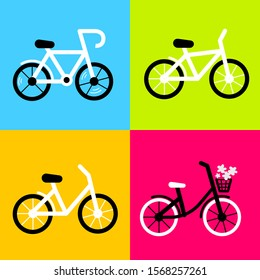 Vector illustration with different city bicycle on color background. Three type of bike. Line art flat style design of bicycle for web, site, banner, poster, greeting card