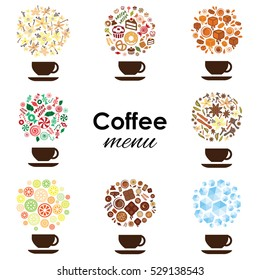 vector illustration of different coffee types with cups and symbolic circles as drink concepts for vanilla caramel spiced flavors