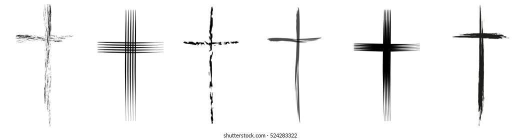 Vector illustration different crucifix on white background