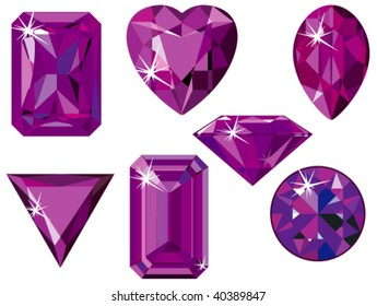 Vector illustration of different cut amethysts isolated on white