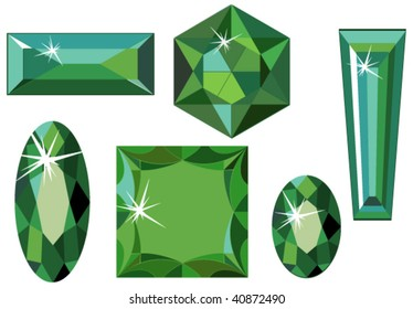 Vector illustration of different cut emeralds isolated on white