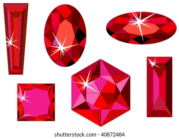 Vector illustration of different cut rubies isolated on white