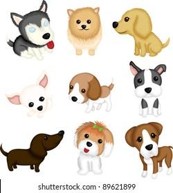 A vector illustration of different dog breeds