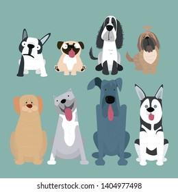 Vector illustration of different dogs breed isolated