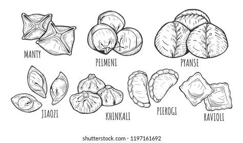 Vector illustration of different dumplings types and styles. Manty, meat dumpling, pelmeni, jiaozi, pyanse or pigodi, khinkali, ravioli, Pierogi or varenyky. Vintage hand drawn style.