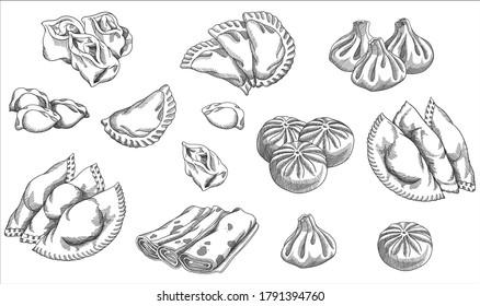 Vector illustration of different dumplings types and styles. Manty, meat dumpling, pelmeni, jiaozi, pyanse or pigodi, khinkali, ravioli, pancake, crepe, Pierogi or varenyky. Vintage hand drawn style.