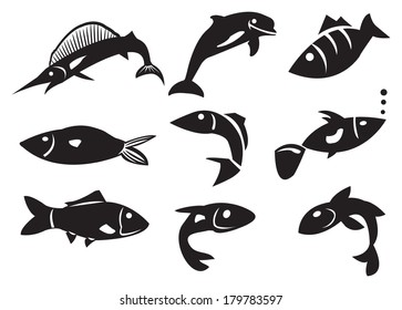 Vector illustration of different fish icons. Black Isolated objects against white background.